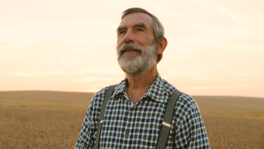 Portrait of old happy fermer in the golden field and smiling on the colorful sky background.