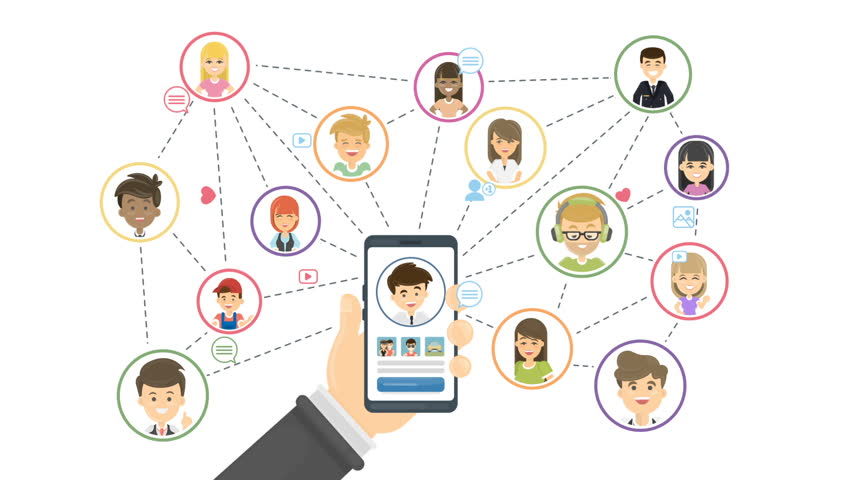 Social network concept. Hand holding smartphone with connections.