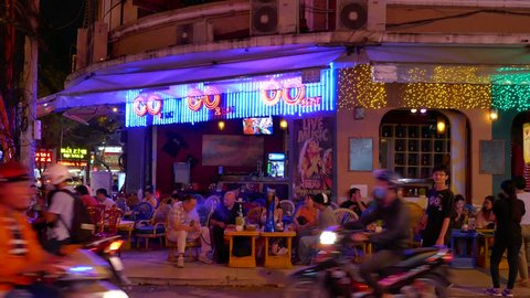 Ho Chi Minh City, Vietnam - August 05, 2017: Night view of the Bui Vien street famous backpackers area in District 1 on August 05, 2017 in Ho Chi Minh City, Vietnam