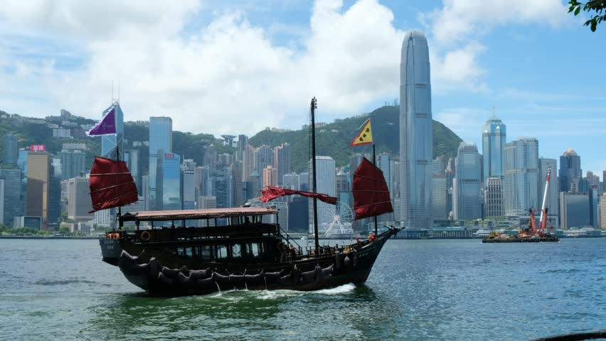 Hong Kong - August 15 2017: Victoria Harbor and Hong Kong Island Skyline. Hong Kong is one of the most densely populated City. | Shutterstock HD Video #29869990
