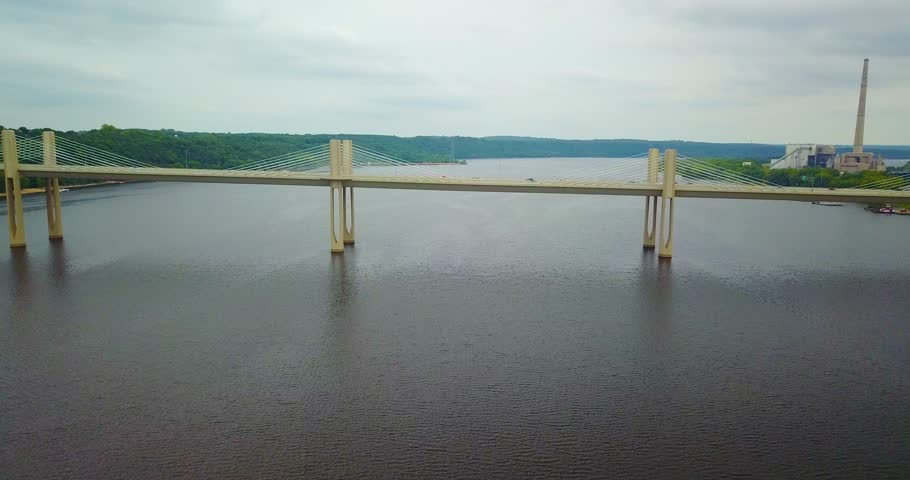 Aerial view of new bridge connecting Minnesota and Wisconsin over the St. Croix River near Stillwater.