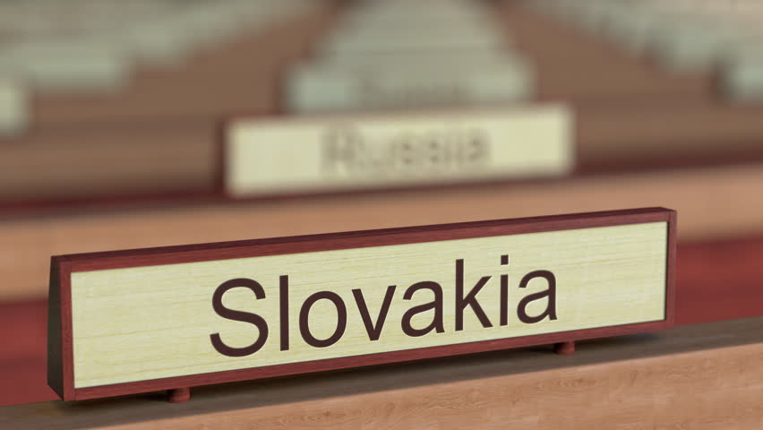 Slovakia name sign among different countries plaques at international organization. 3D rendering