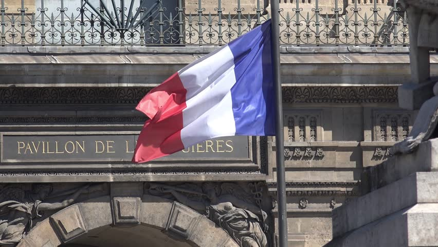 French flag waving in the wind on the Carrousel Bridge, Louvre Palace in background | Shutterstock HD Video #29912851