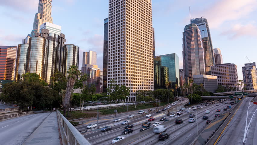 Los Angeles, California, USA - August 16th 2017 - Downtown Los Angeles Day to Night Tilting Hyperlapse Timelapse