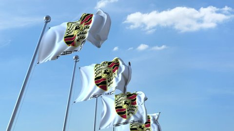 Waving flags with Porsche logo against sky, seamless loop. 4K editorial animation
