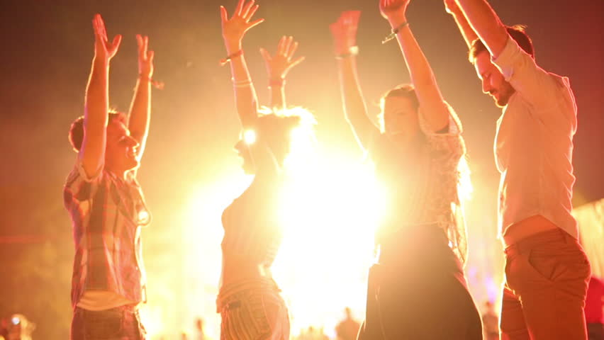Group of friends having fun and dancing at concert #29962390