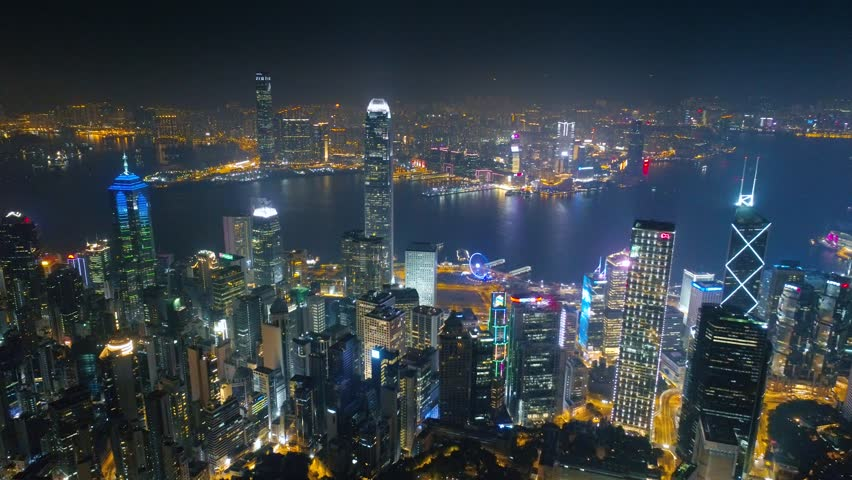 Hong Kong Night aerial view on the island, Victoria bay 4k