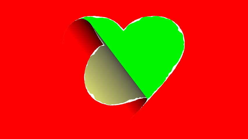 The Paper Heart Is Ripped and Text Area Appears Behind The paper  heart is ripped and your text area appears behind it.2D animation.4K.Includes Green Screen/Alpha matte.