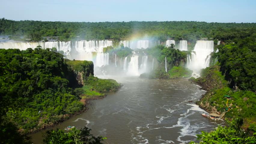 Panoramic view of the massive Iguazu Waterfalls system in Brazil | Shutterstock HD Video #30065806