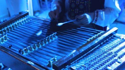 Dulcimer musical instrument. Traditional string instruments. Dulcimer folk musician instrument