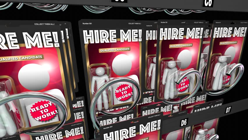 Hire Me Action Figures Get Job Interview Workers 3d Animation