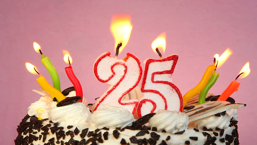 Happy 25 Birthday Cake And Candles On Pink Background