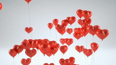 Flying balloons in the shape of a heart. Romantic background for valentine's day. 3d Rendering.