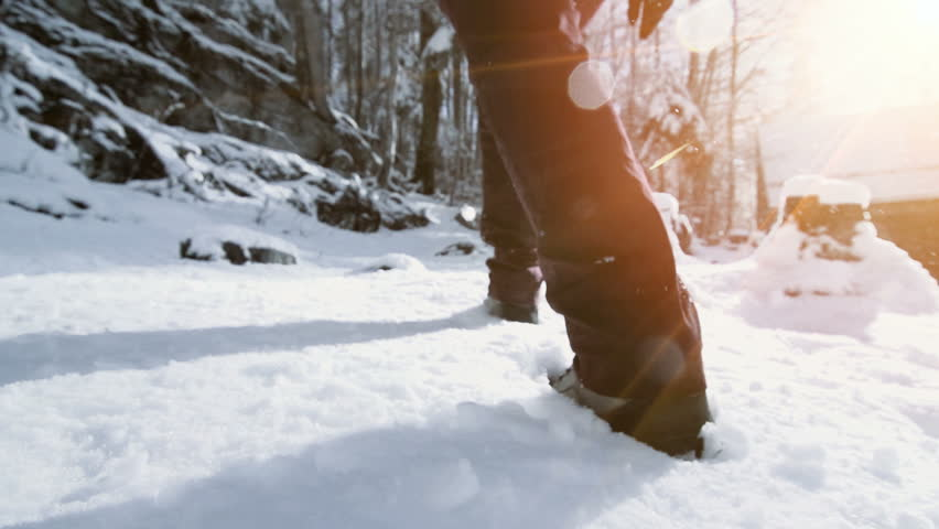 Snow hiking walking foot steps feet slow motion | Shutterstock HD Video #30130024