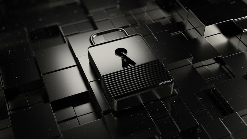Abstract 3d rendered technology background. Digital theme. Lock is laying on fractured surface with random moved square primitives. Metal materials and particles elements.   Shutterstock HD Video #30147340