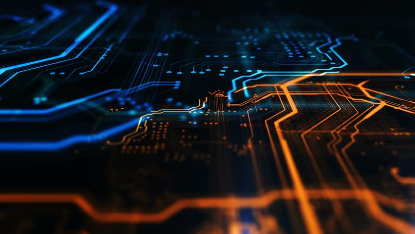 Orange, blue technology background circuit board...