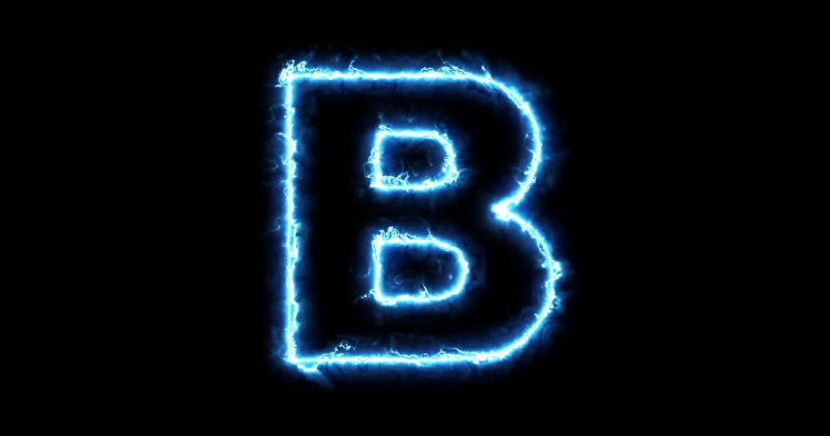 electric lightning letter b on stock footage video  100