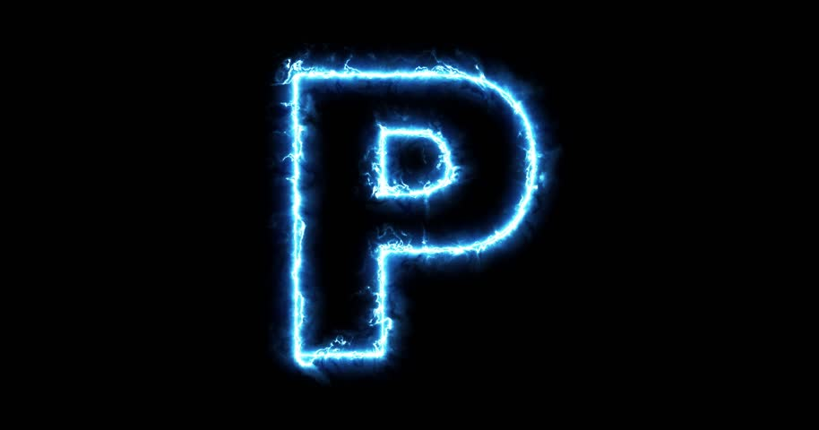 electric lightning letter p on stock footage video  100