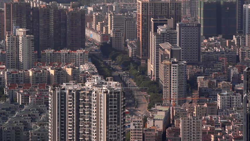 Cityscape - Shenzhen, Guangdong province, China; long shot at city streets and buildings in Nanshan district; high angle view | Shutterstock HD Video #30190480