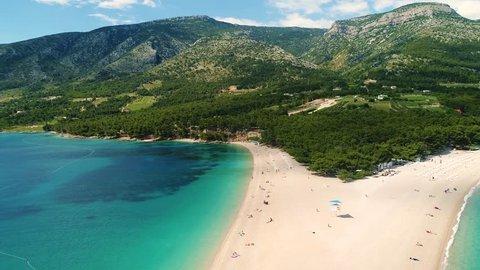 Aerial view of Zlatni Rat, a sandy beach on the island of Brac, Croatia
