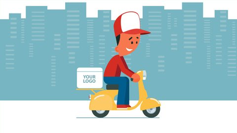 Cartoon young man riding a scooter with delivery box on it. Looped animation. Man on cityscape background, man on transparent background and moving background versions. PNG+Alpha.
