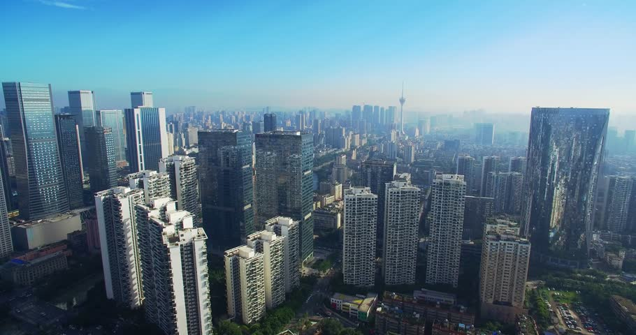 Aerial view of the downtown  cityscape of Chengdu city in China | Shutterstock HD Video #30321952