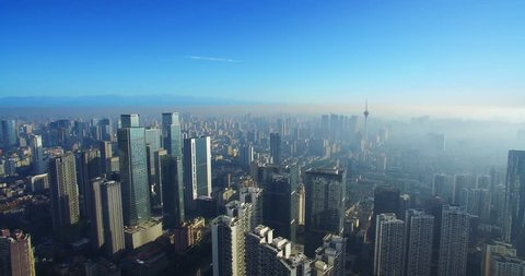 aerial view of the downtown  cityscape of Chengdu city in China
