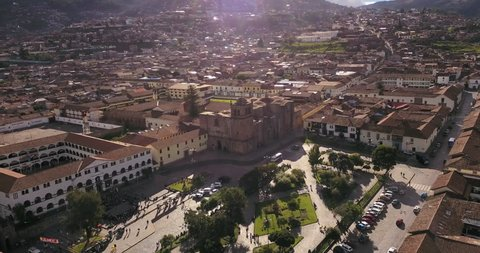 Cusco Peru Aerial v6 Flying low around plaza