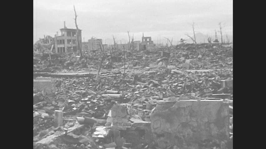 Stock video of hiroshima japan 1940s the repercussion of 8374216 hd0022japan 1940s rubble of ruined bombed out city hiroshima two dead leafless trees in front of destroyed building only foundation remains military thecheapjerseys Image collections