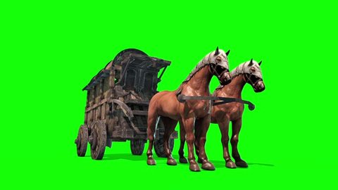 Carriage Horses Green Screen 3D Rendering Animation