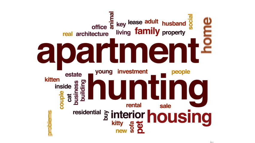 Lovely Hd00:15Apartment Hunting Animated Word Cloud, Text Design Animation.