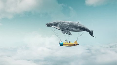 Travel concept. Whale floats in the air above the clouds carrying children in a yellow airplane.