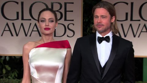 Beverly Hills, CA - JANUARY 15, 2012: Angelina Jolie, Brad Pitt, walks the red carpet at the Golden Globe Awards 2012 held at the Beverly Hilton Hotel