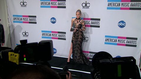 Los Angeles, CA - NOVEMBER 20, 2011: Jennifer Lopez, walks the red carpet at the American Music Awards 2011 held at the Nokia Theatre