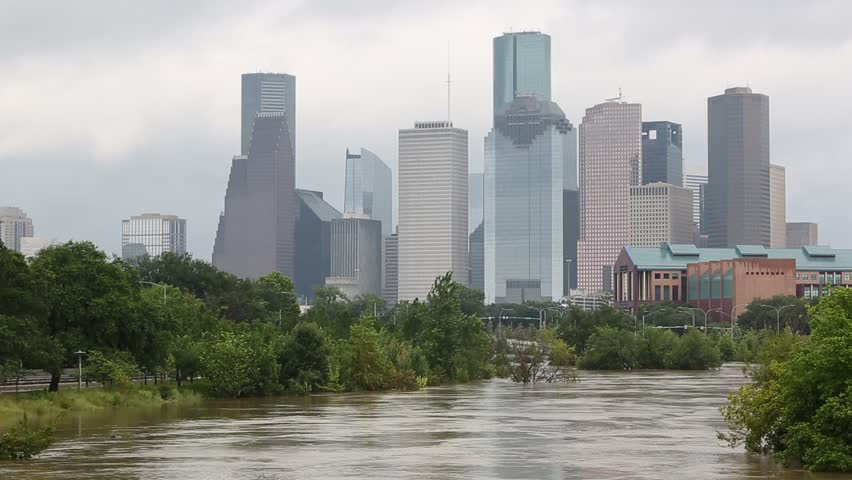 Clip of downtown Houston after Harvey hurricane , in Texas, USA