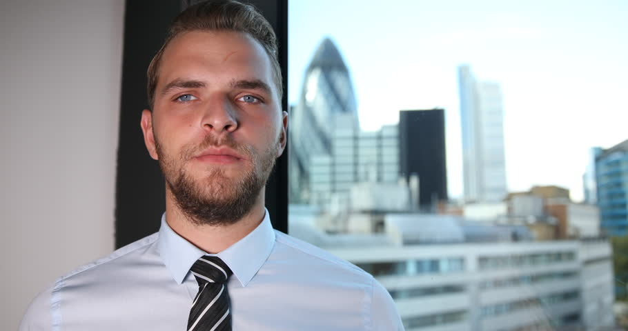 Charming Business Man Looking Camera Hand Gestures Thumb Up Sign London Skyline | Shutterstock HD Video #30492490