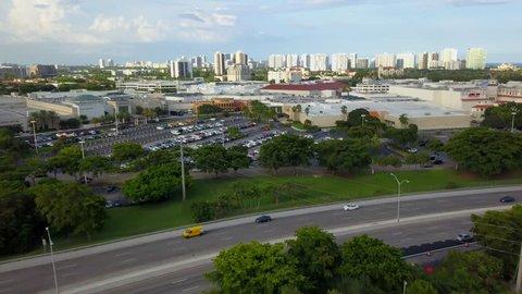 AVENTURA, FL, USA - SEPTEMBER 1, 2017: Aventura Mall aerial video flyover