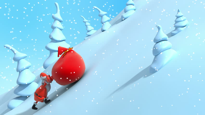 Cartoon Santa Claus rises uphill and drags big red bag with gifts . New Year's 3d animation | Shutterstock HD Video #3053656
