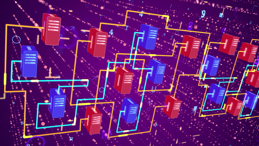 3d rendering of a numeric transfer of information through cubic blocks of blue and red colors with a network of sparkling yellow routes in the dark violet background wth shimmering dots and lines   Shutterstock HD Video #30536800