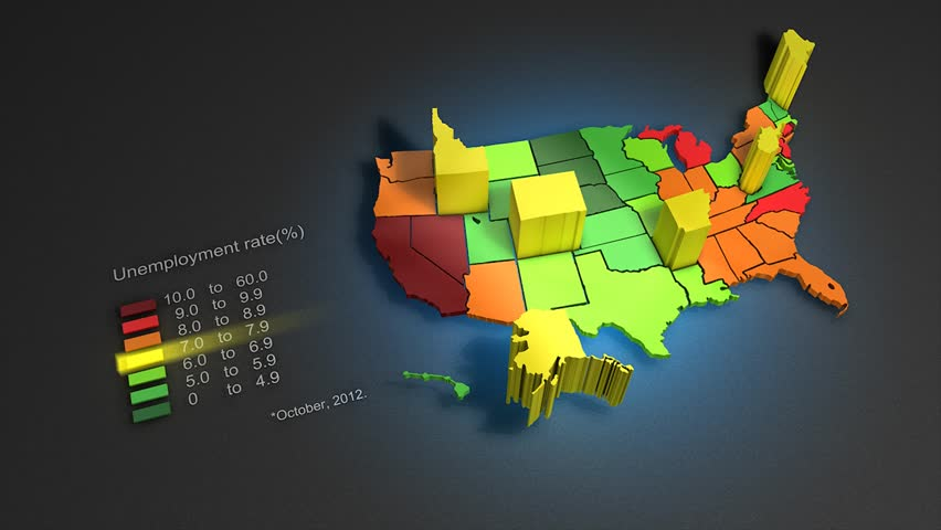 Animated infographic of US unemployment rate, October 2012 according to the Bureau of Labor Statistics Geographic Profile of Employment and Unemployment.