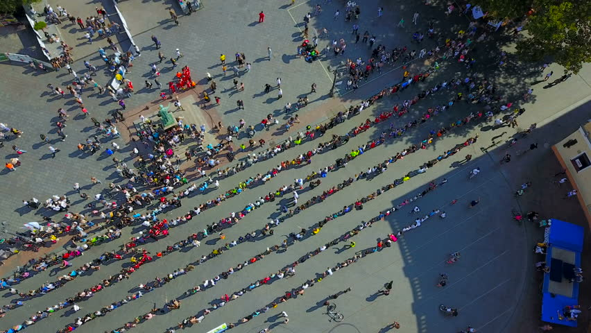 ODESSA, 09/09/2017 - Day of phisical culture and sport in Odessa, Ukraine. 777 people getting ready to do plank exercise. Making Ukraine national record aerial view | Shutterstock HD Video #30572830
