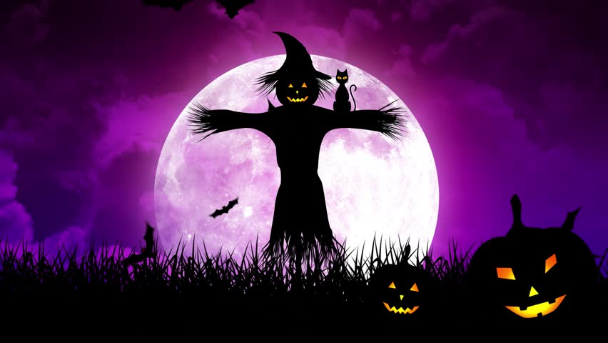Halloween background animation with the concept of Spooky Pumpkins, Moon and Bats and Scarecrow and Haunted Castle. | Shutterstock HD Video #30577540
