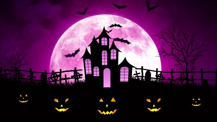 Halloween Background Animation With The Stock Footage