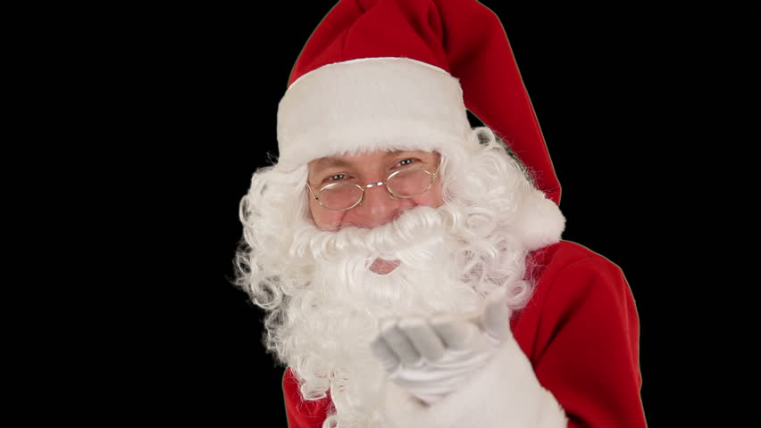 Santa Claus Presenting a White Sheet then sending a Kiss and saying Bye Bye,
