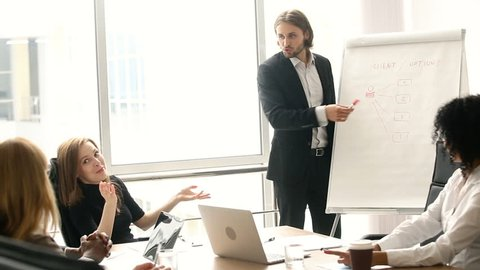 Confident businessman giving drawing presentation on flipchart to colleagues in boardroom, executive manager showing explaining new company strategy, business coach training employees in office