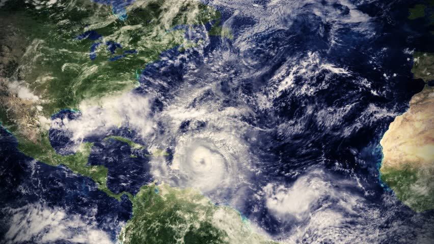Hurricane from space satellite earth storm typhoon climate cloud weather 4k