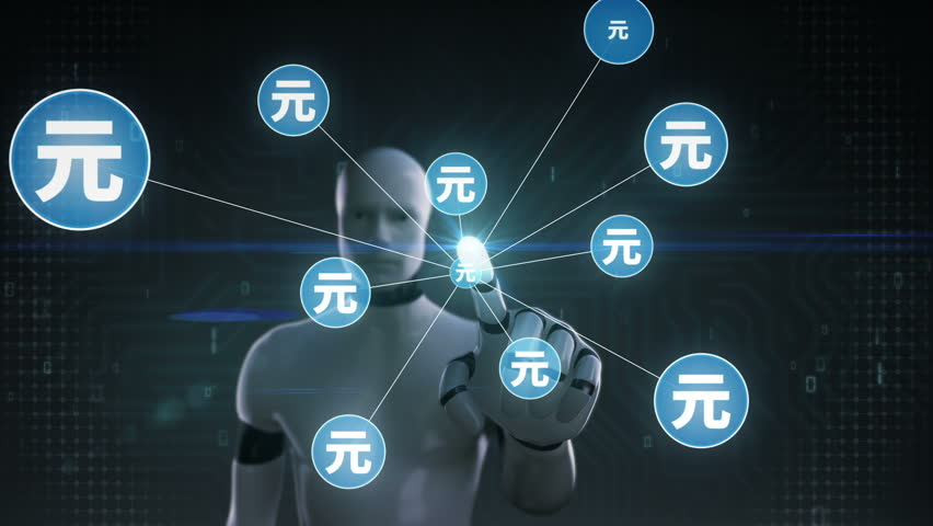 Robot, cyborg touching Yuan symbol, Numerous dots gather to create a Yen currency sign, dots makes global world map, internet of things. financial technology 1. | Shutterstock HD Video #30618340