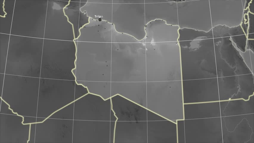 The Libya area map in the Azimuthal Equidistant projection. Layers of main cities, capital, administrative borders and graticule. Elevation & bathymetry - grayscale
