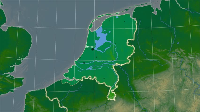 The Netherlands area map in the Azimuthal Equidistant projection. Layers of main cities, capital, administrative borders and graticule. Colored physical map