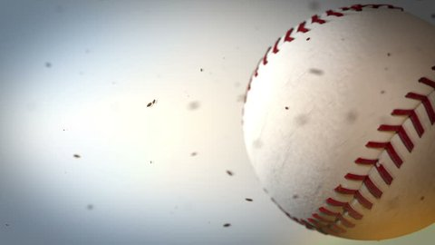 Rotating Baseball, hi-speed, slow- speed, white little particles around the ball